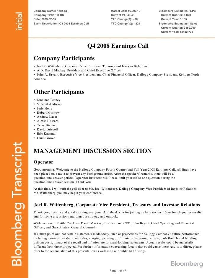 kellogg  Q4 2008 Transcript