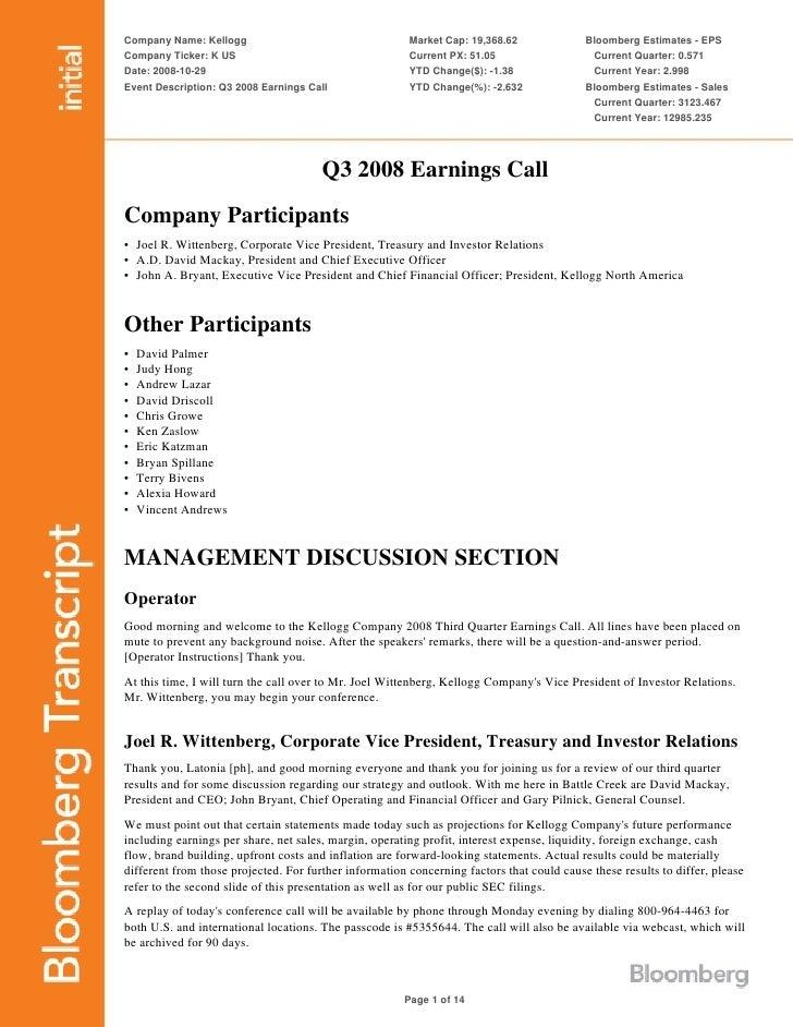 Company Name: Kellogg                                   Market Cap: 19,368.62              Bloomberg Estimates - EPS Compa...