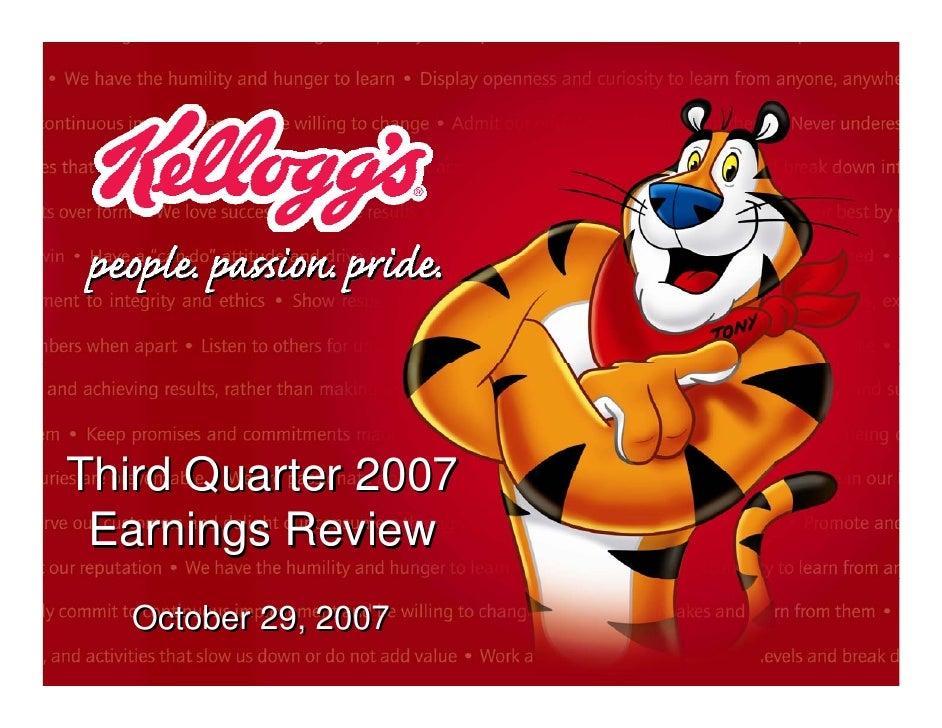 kellogg  Q3 2007 Earnings Release