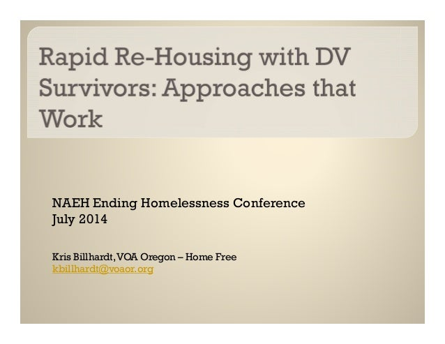 Rapid Re-Housing with DV Survivors: Approaches that Work