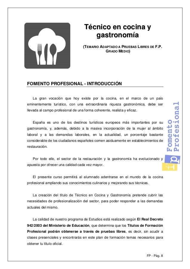 T cnico en cocina y gastronom a - Temario fp cocina y gastronomia ...