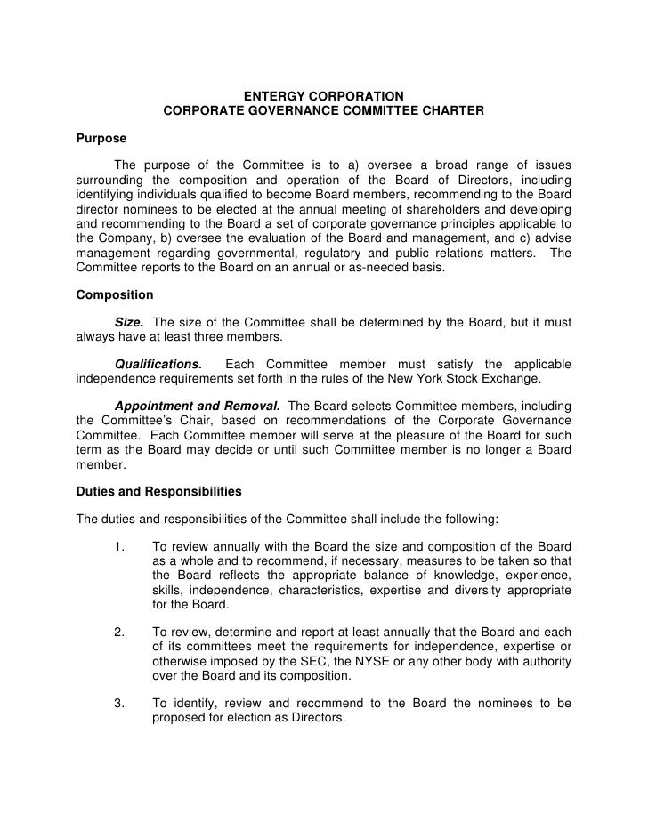 ENTERGY CORPORATION                CORPORATE GOVERNANCE COMMITTEE CHARTER  Purpose          The purpose of the Committee i...