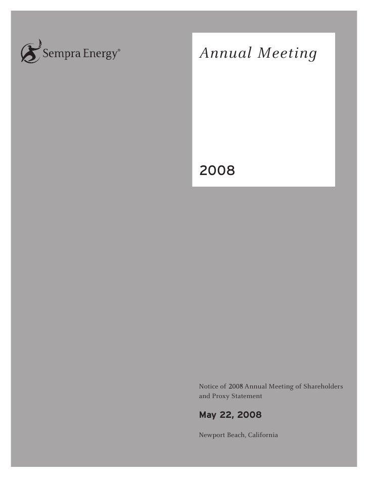 sempra energy 2008 Proxy Statement