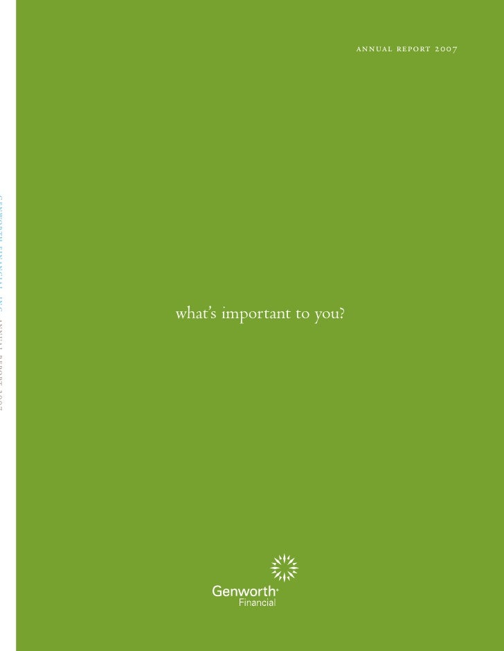 annual report 2007     what's important to you?