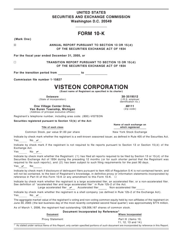 visteon 	2005 Form 10-K