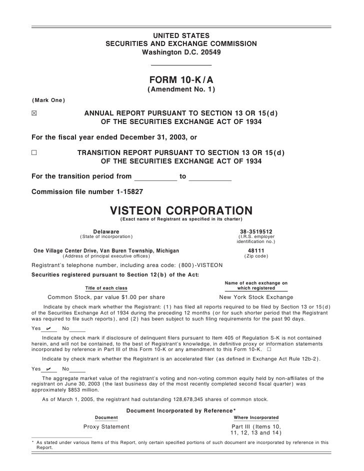 visteon 2003 Form 10-K A