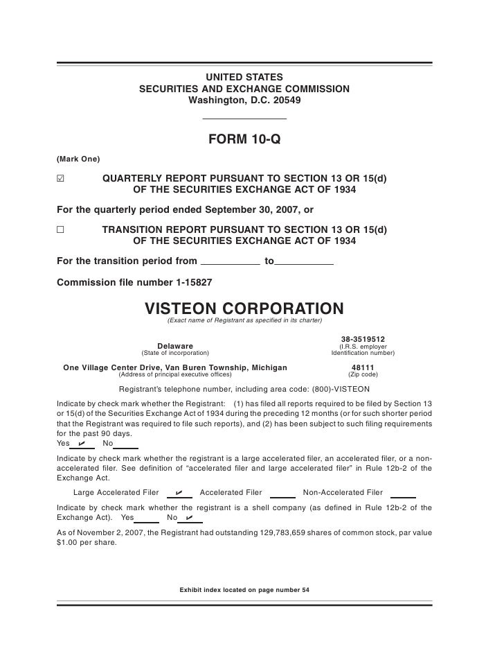 visteon 	3Q 2007 Form 10-Q