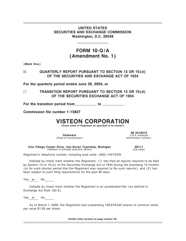 visteon 	2Q 2004 Form 10-Q A