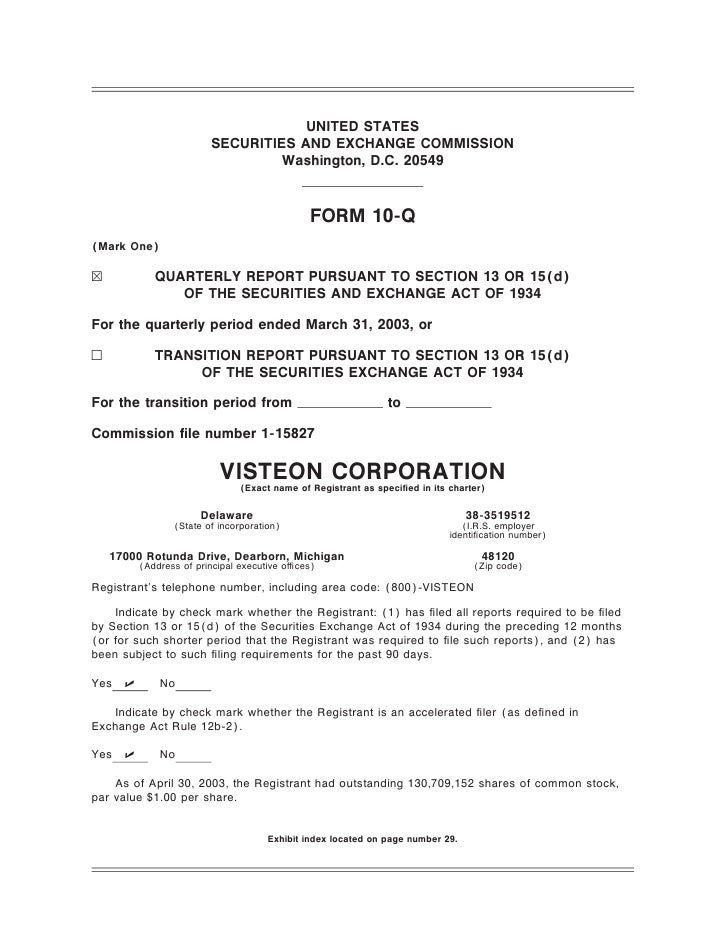 visteon 1Q 2003 Form 10-Q