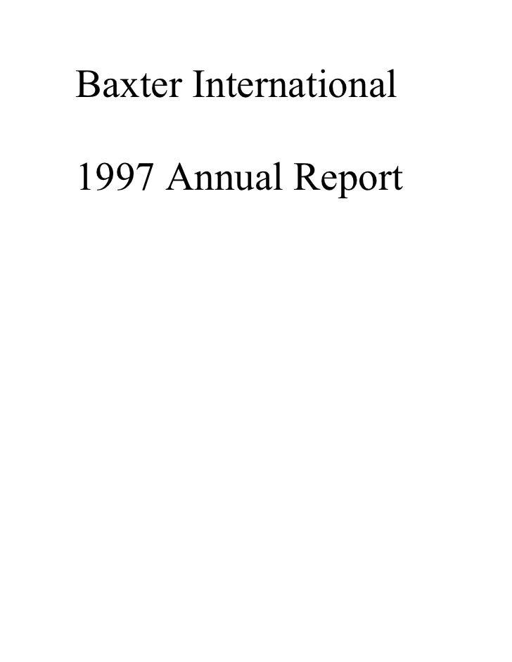 Baxter International  1997 Annual Report