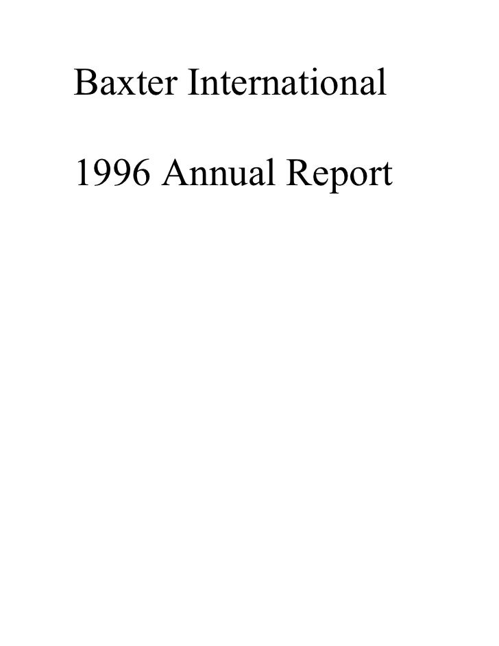Baxter International  1996 Annual Report