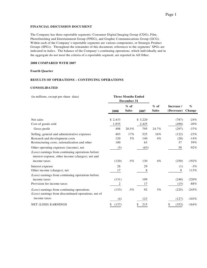 Page 1  FINANCIAL DISCUSSION DOCUMENT  The Company has three reportable segments: Consumer Digital Imaging Group (CDG), Fi...