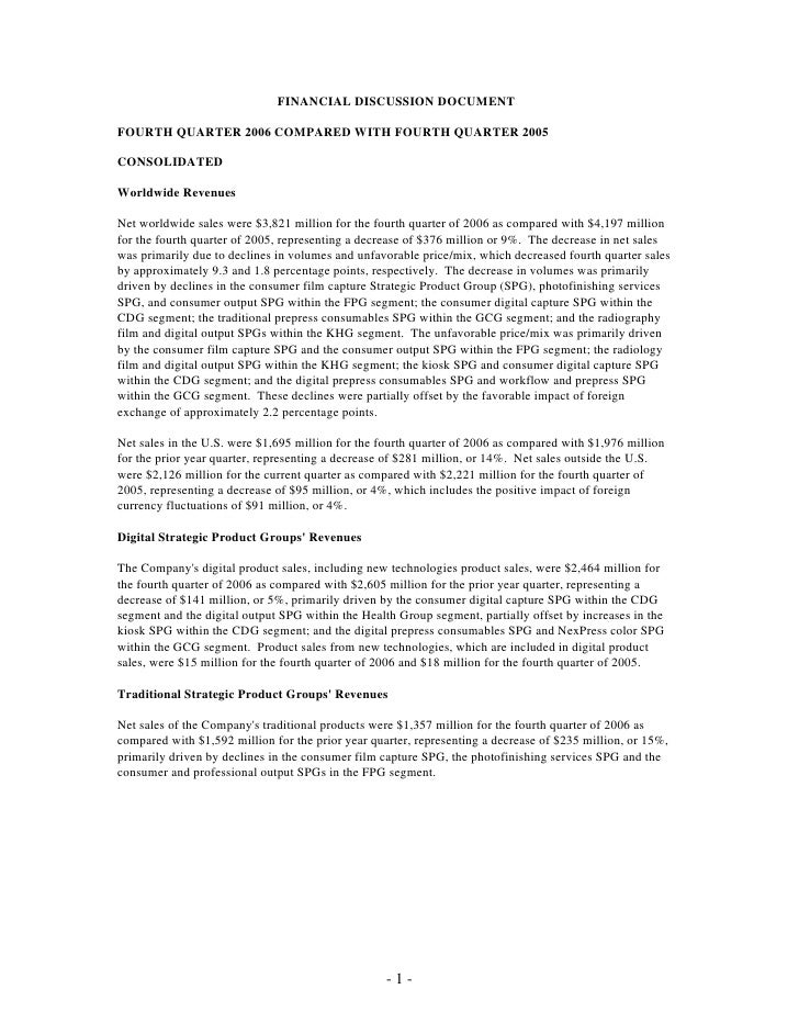 FINANCIAL DISCUSSION DOCUMENT  FOURTH QUARTER 2006 COMPARED WITH FOURTH QUARTER 2005  CONSOLIDATED  Worldwide Revenues  Ne...