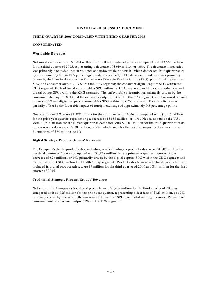 FINANCIAL DISCUSSION DOCUMENT  THIRD QUARTER 2006 COMPARED WITH THIRD QUARTER 2005  CONSOLIDATED  Worldwide Revenues  Net ...