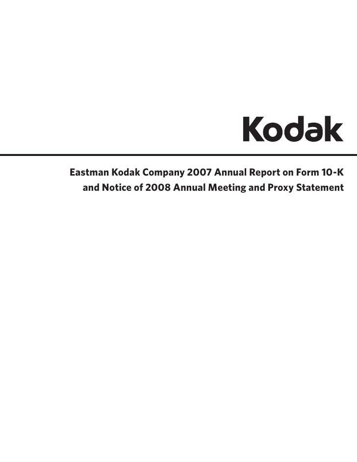 2007 Kodak AR 10K 2008 Proxy wCover