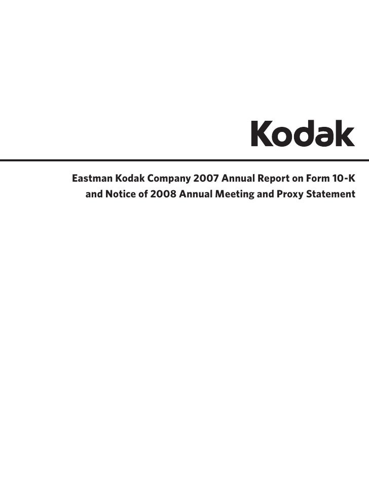 Eastman Kodak Company 2007 Annual Report on Form 10-K   and Notice of 2008 Annual Meeting and Proxy Statement