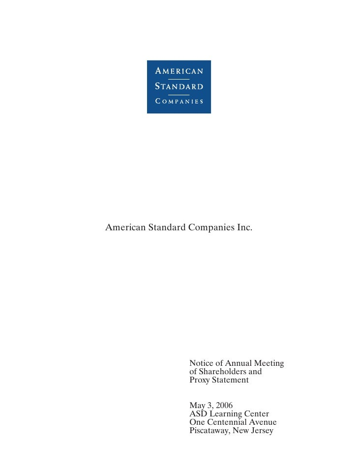 American Standard Companies Inc.                       Notice of Annual Meeting                   of Shareholders and     ...