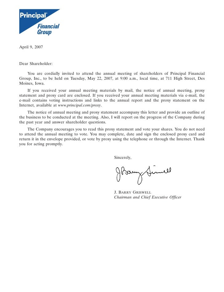 14MAR200621295106  April 9, 2007    Dear Shareholder:     You are cordially invited to attend the annual meeting of shareh...