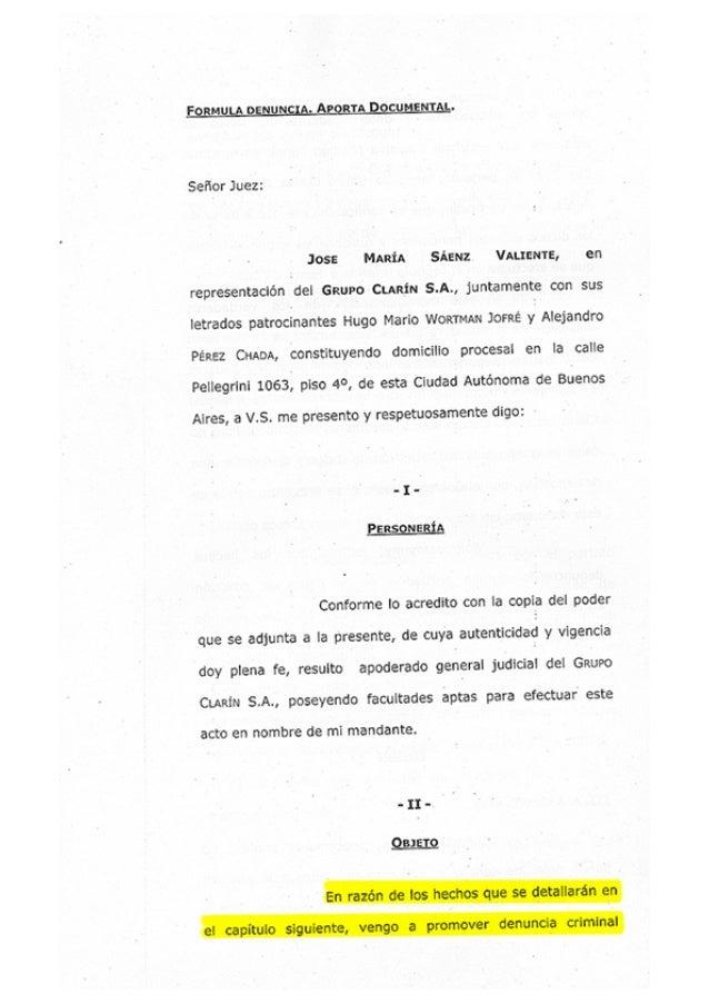 Denuncia de Clarín contra periodistas, funcionarios y organizaciones