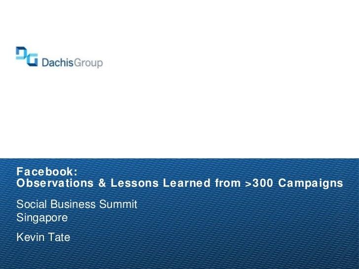 Facebook: Observations & Lessons Learned from >300 Campaigns <ul><li>Social Business Summit </li></ul><ul><li>Singapore </...