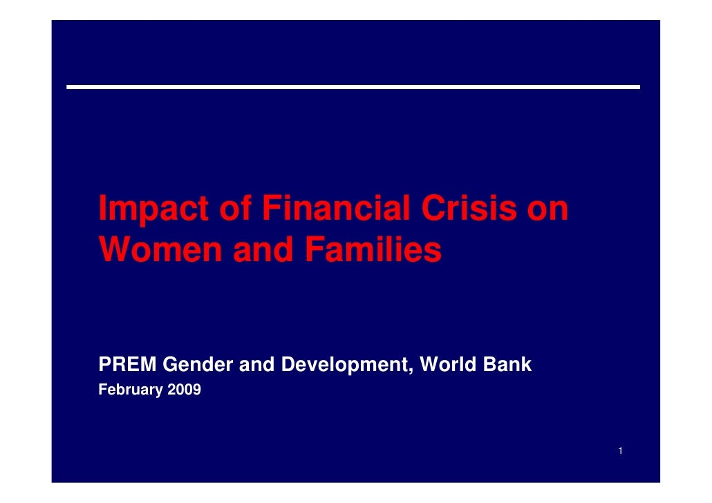 Impact of Financial Crisis on Women and Families