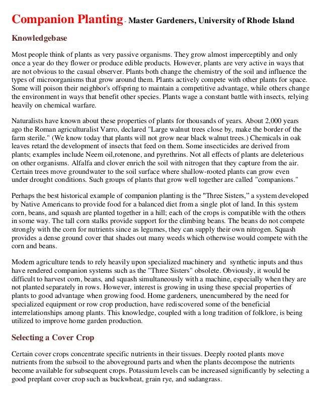 Companion Planting - Master Gardeners, University of Rhode Island