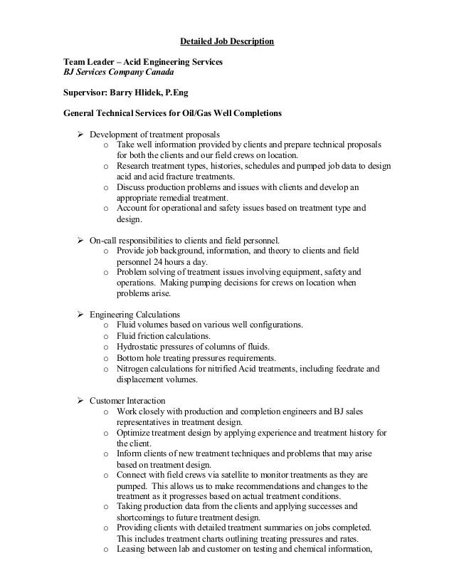 Resume with detailed job description