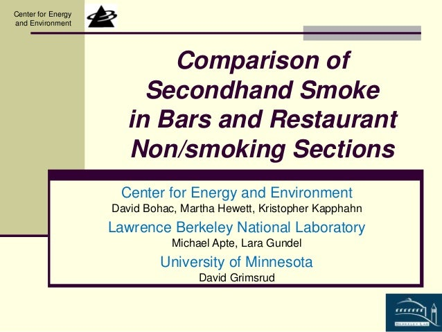 Comparison of  Secondhand Smoke  in Bars and Restaurant  Non/smoking Sections