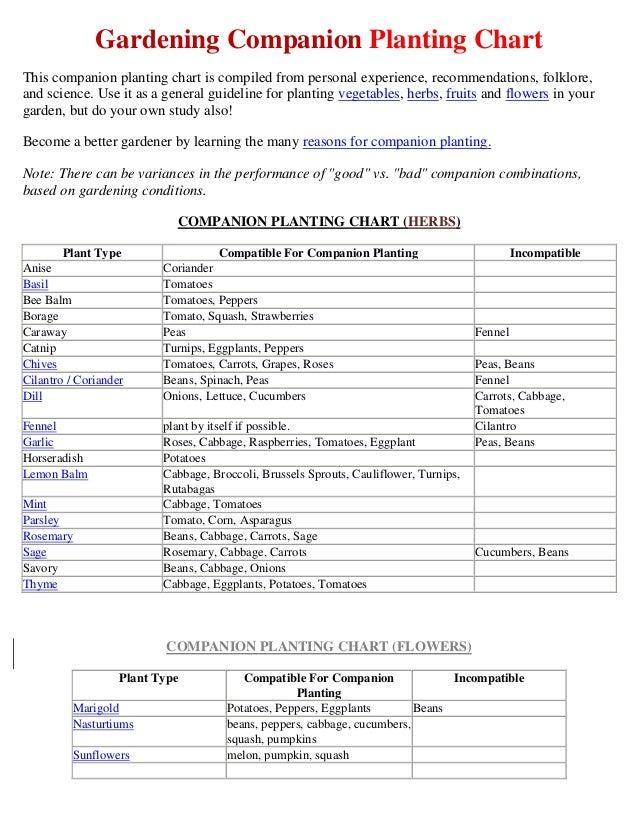 Gardening Companion Planting ChartThis companion planting chart is compiled from personal experience, recommendations, fol...