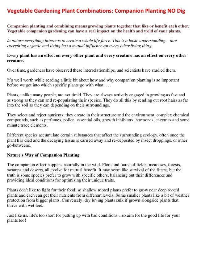 Vegetable Gardening Plant Combinations: Companion Planting NO DigCompanion planting and combining means growing plants tog...
