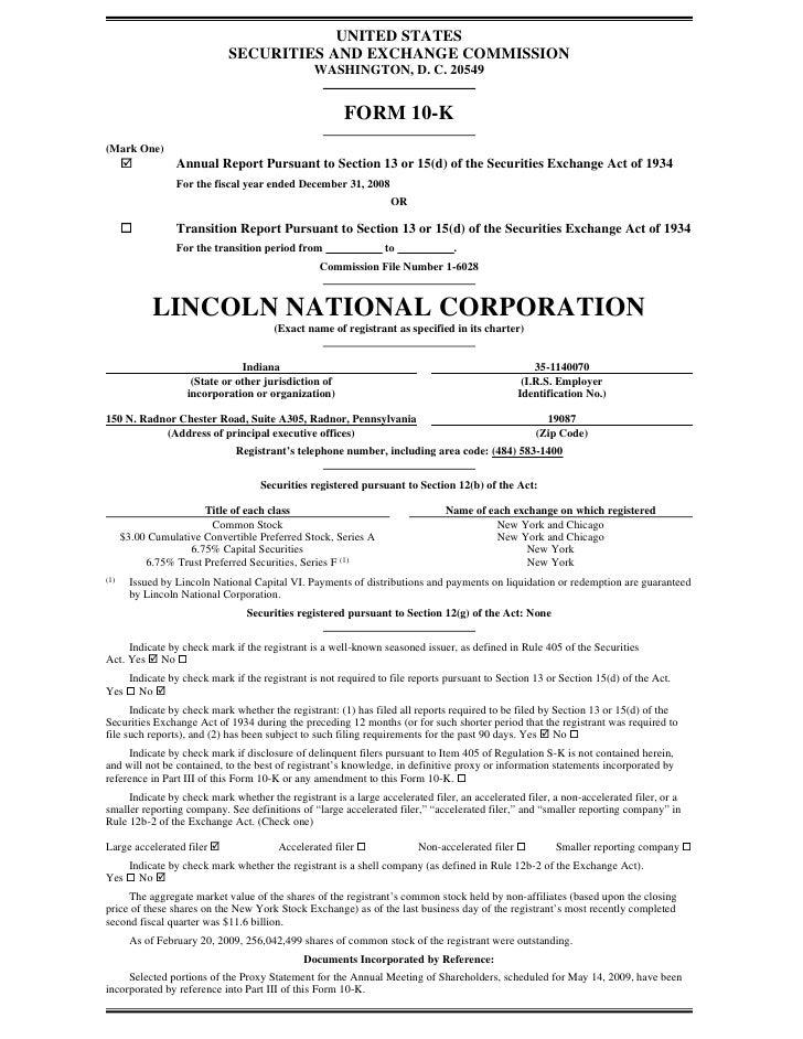 lincoln national lnc10k08