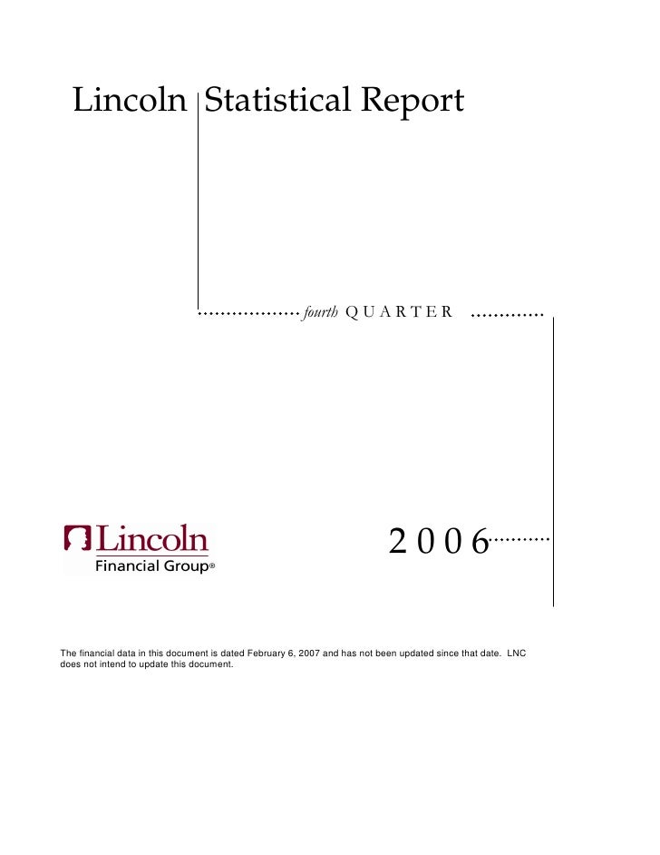 Lincoln Statistical Report                                                                                2006  The financ...