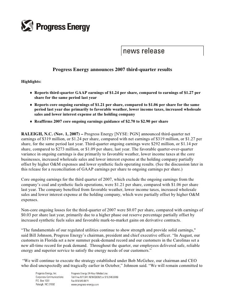 progress energy q3 2007