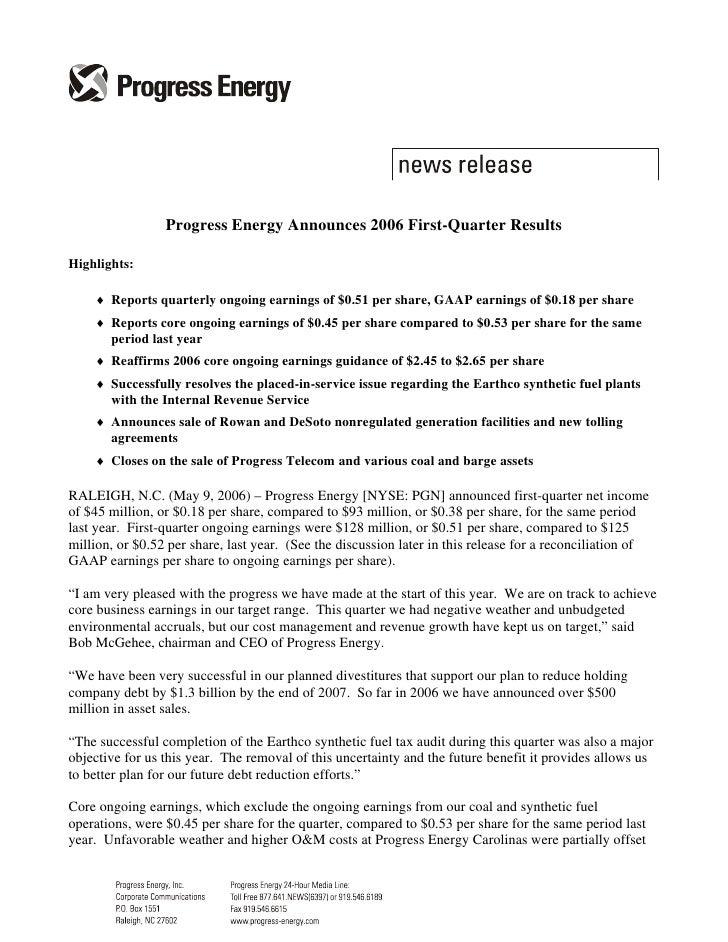 progress energy q1 2006 earningsrelease