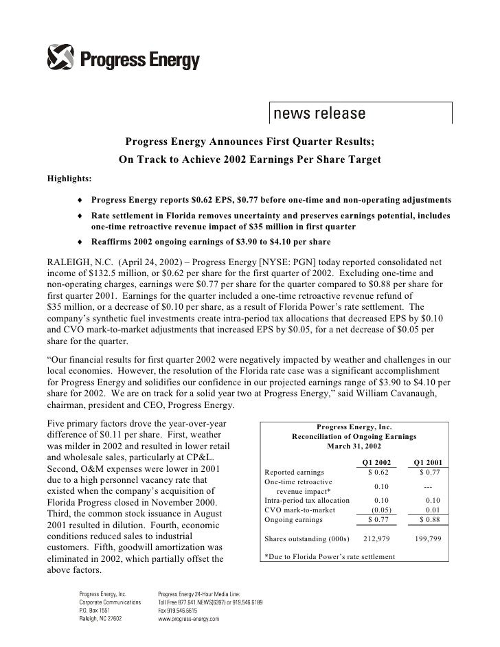 Progress Energy Announces First Quarter Results;                   On Track to Achieve 2002 Earnings Per Share Target High...