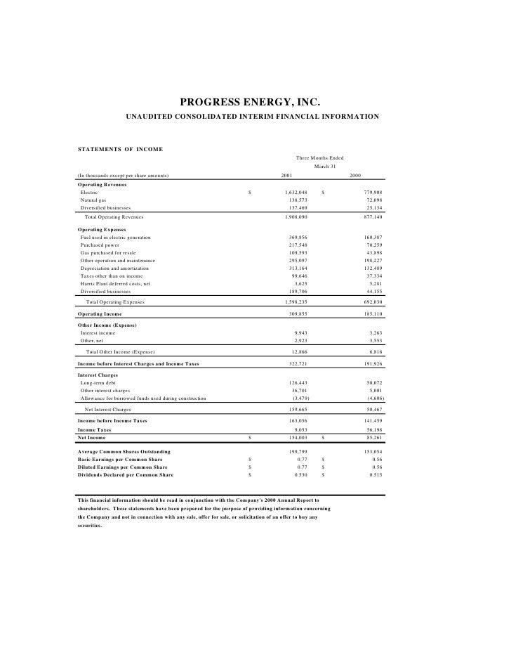 PROGRESS ENERGY, INC.                     UNAUDITED CONSOLIDATED INTERIM FINANCIAL INFORMATION    STATEMENTS OF INCOME    ...