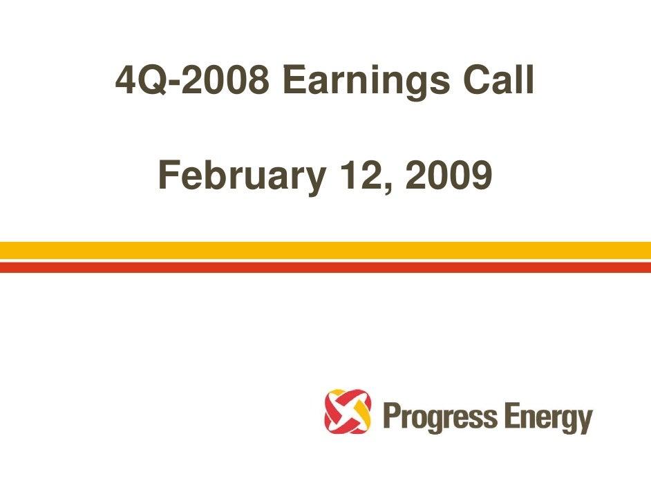 progress energy Q4 2008_earnings call