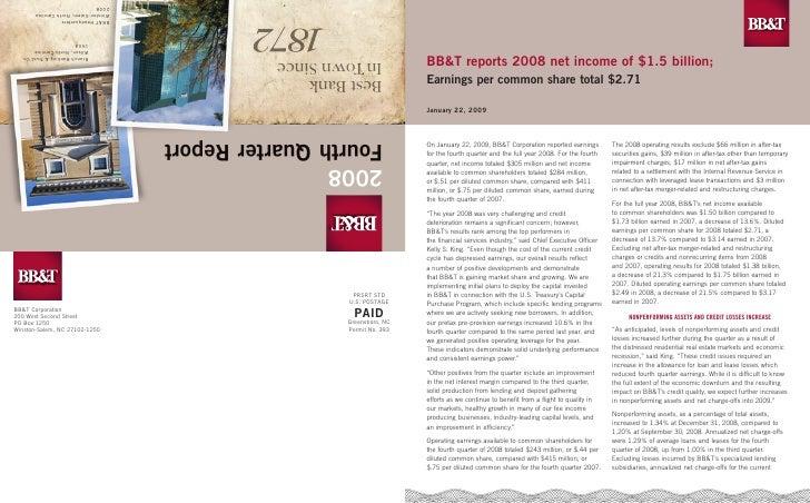 BBTsq4 2008 Fourth Quarte 2008 Shareholders_Report
