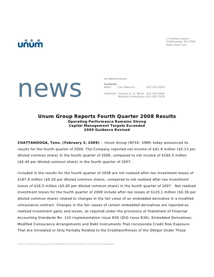 unum group   4Q 08_Release