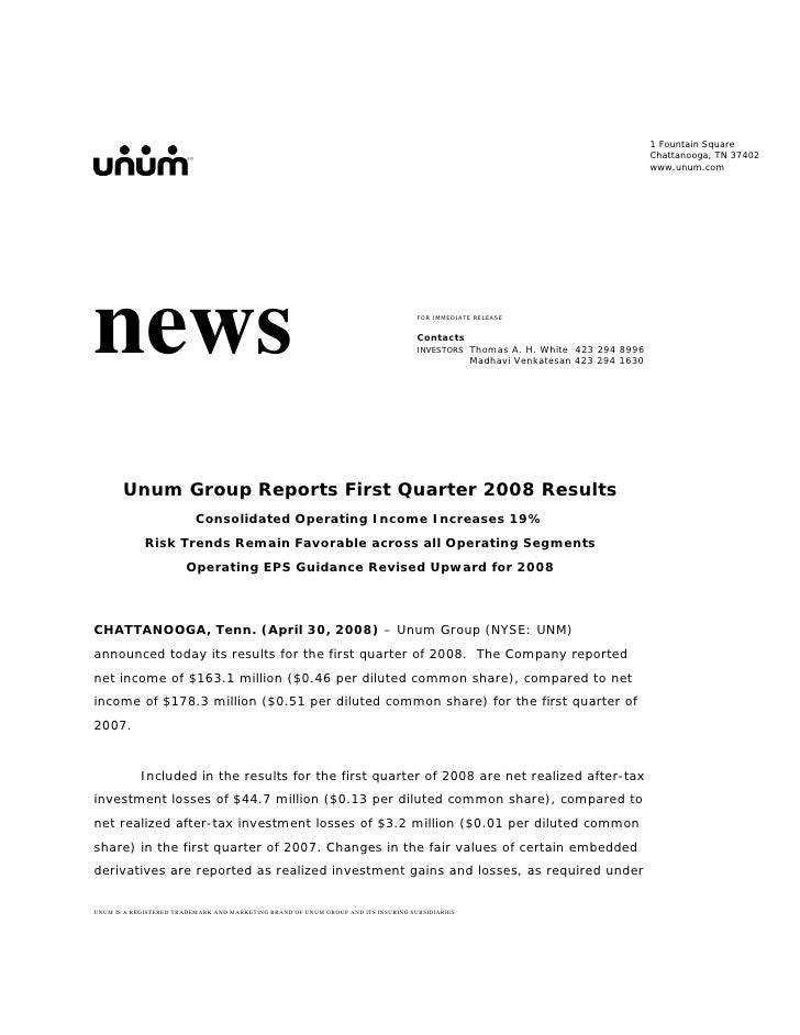 unum group   1Q 08
