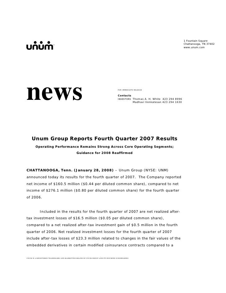 unum group  4Q 07