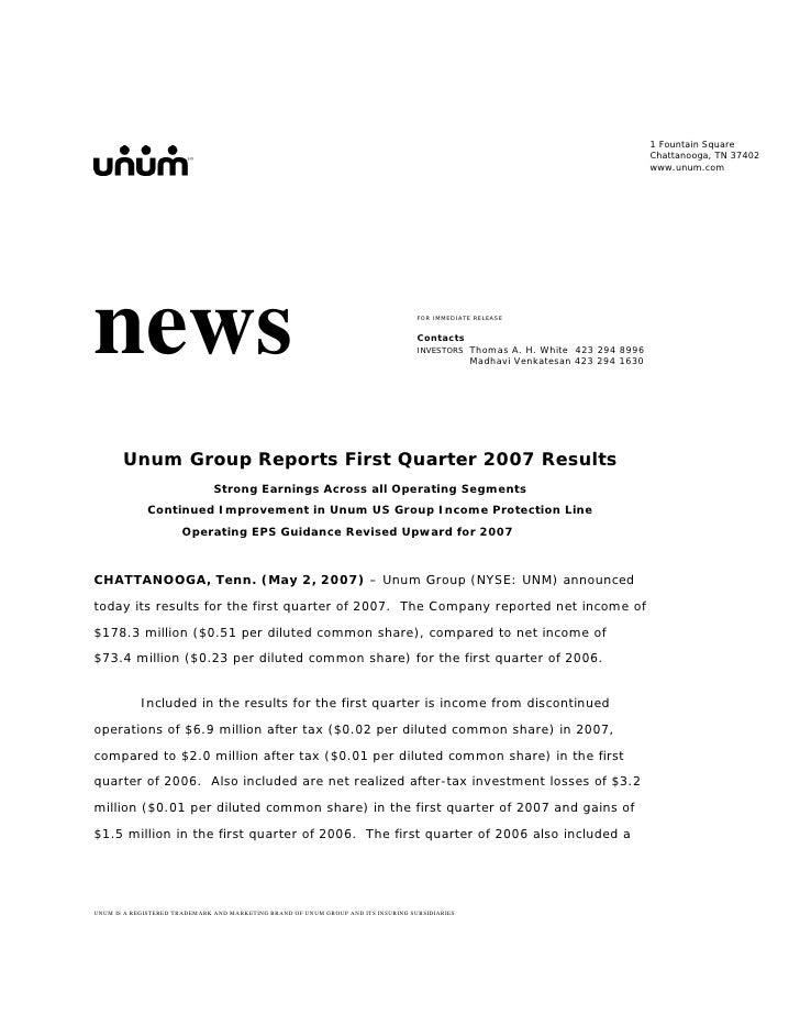 unum group  1Q 07