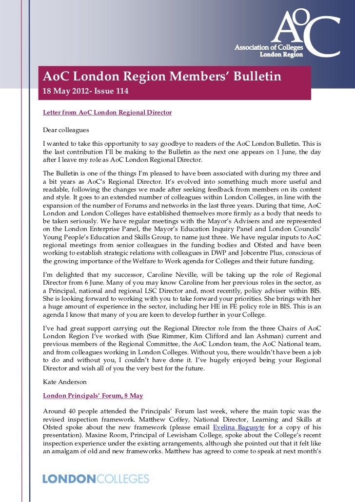 AoC London Members' Bulletin - Issue 114