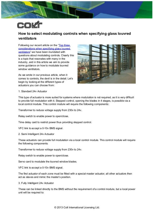 """How to select modulating controls when specifying glass louvred ventilators Following our recent article on the """"Top three..."""