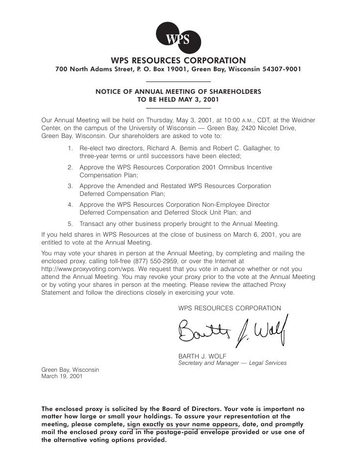 WPS RESOURCES CORPORATION     700 North Adams Street, P O. Box 19001, Green Bay, Wisconsin 54307-9001                     ...
