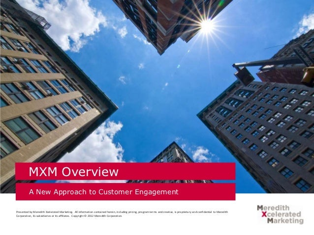 MXM Overview          A New Approach to Customer EngagementPresented by Meredith Xcelerated Marketing. All information con...