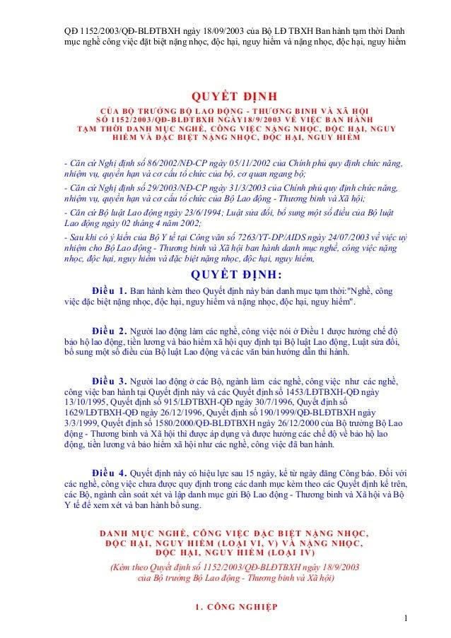 QĐ 1152/2003/QĐ-BLĐTBXH ngày 18/09/2003 của Bộ LĐ TBXH Ban hành tạm thời Danhmục nghề công việc đặt biệt nặng nhọc, độc hạ...