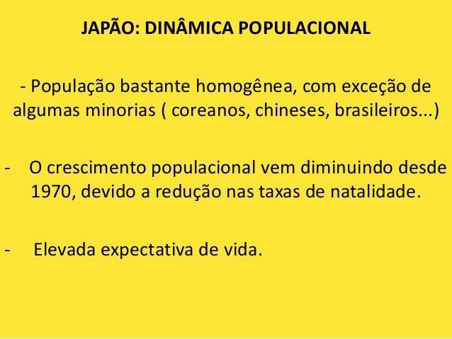 JAPÃO: DINÂMICA POPULACIONAL     - População bastante homogênea, com exceção de    algumas minorias ( coreanos, chineses, ...