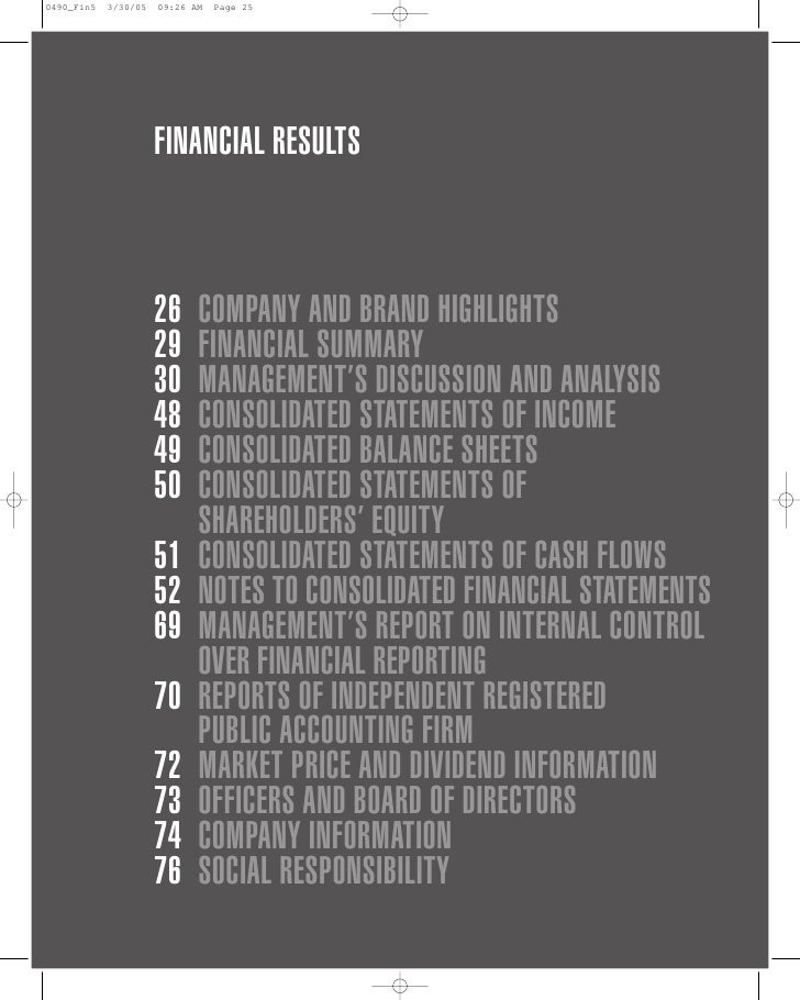 FINANCIAL RESULTS    26   COMPANY AND BRAND HIGHLIGHTS 29   FINANCIAL SUMMARY 30   MANAGEMENT'S DISCUSSION AND ANALYSIS 48...