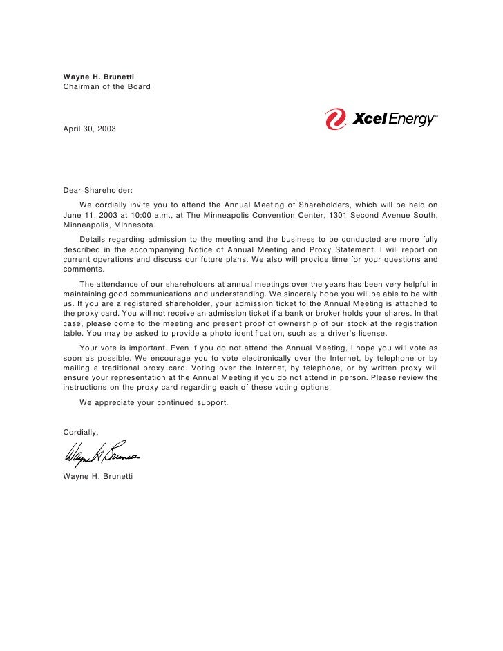 Wayne H. Brunetti Chairman of the Board     April 30, 2003     Dear Shareholder:     We cordially invite you to attend the...